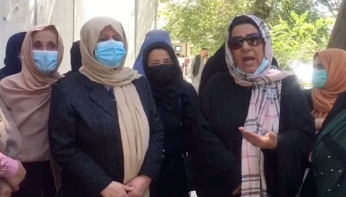 A group of women gather for a protest in Kabul, Afghanistan, September 16, 2021 in this screengrab obtained from a social media video. Video taken September 16, 2021. Photo: Reuters
