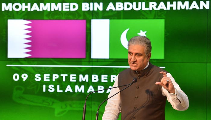Foreign Minister Shah Mahmood Qureshi speaks during a press conference in Islamabad on September 9, 2021. — AFP/File
