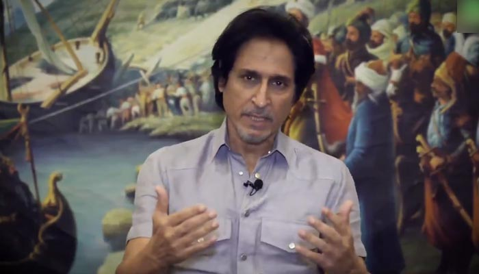 Pakistan Cricket Board (PCB) Chairman Ramiz Raja speaks during avideo message released by the cricket board, on September 18, 2021. — Twitter/TheRealPCB