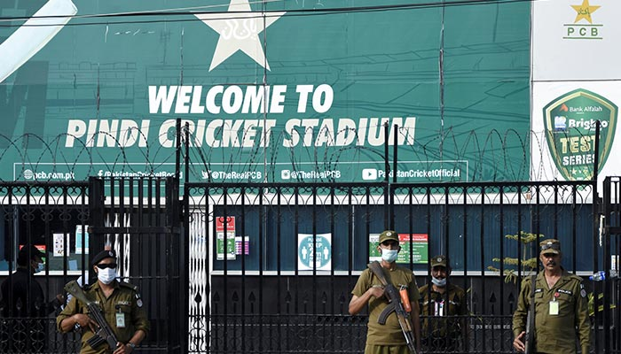 Police officers stand guard outside Rawalpindi Cricket Stadium after New Zealand cricket team pull out of a Pakistan cricket tour over security concerns, in Rawalpindi, Pakistan September 17, 2021. — Reuters/File