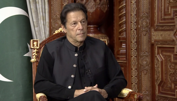 Prime Minister Imran Khan can be seen during an interview with Russia Today (RT) television, on September 17, 2021. — RT