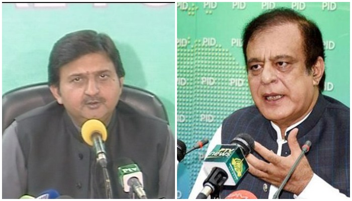 Shahbaz Sharifs spokesman Malik Muhammad Ahmed Khan (L) and Minister for Science and Technology Shibli Faraz (R). Photos: Radio Pakistan/ Press Information Department.