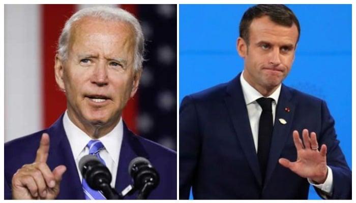 US President Joe Biden (L) and French President Emmanuel Macron (R). Photo: Reuters.