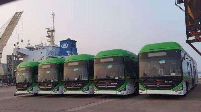 Cargo ship carrying 40 buses for Karachi BRT project arrive in Pakistan