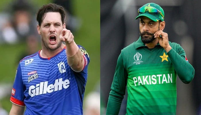 New Zealand pacer Mitchell McClenaghan (left) and Pakistan cricketer Mohammad Hafeez.