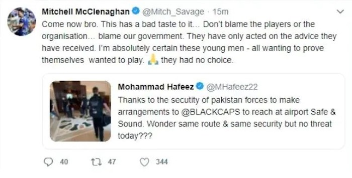 Don't blame players for NZs tour cancellation: McClenaghan responds to Hafeezs trolling