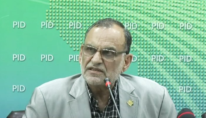 Federal Minister for Railways Azam Khan Swati addressing a press conference in Islamabad, on September 20, 2021. — YouTube/HumNewsLive