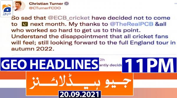 Geo Headlines 11 PM | 20th September 2021