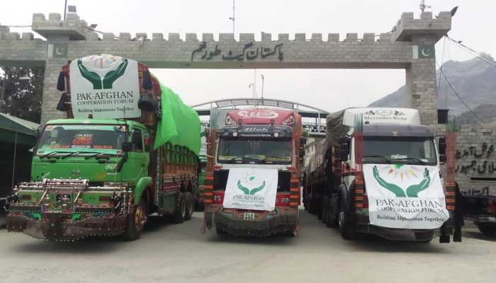 The latest consignment of four trucks to arrive in Afghanistan, on Sunday, September 20, 2021. — Photo courtesy Pakistan Ambassador to Afghanistan Mansoor Ahmad Khan