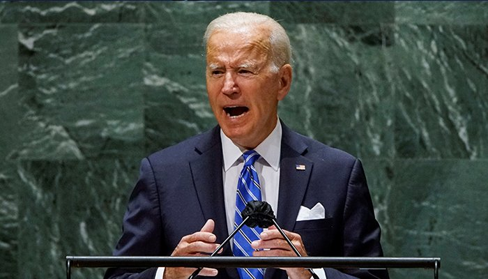 US President Joe Biden addresses the 76th Session of the UN General Assembly in New York City, US, September 21, 2021. — Reuters
