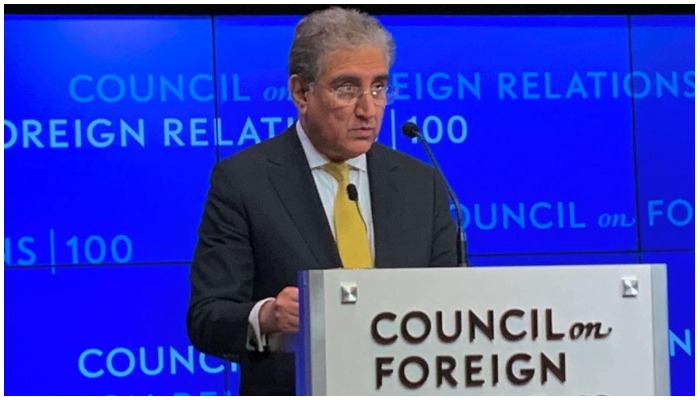 FM Shah Mehmood Qureshi addressing the CFR in New York on September 12. Photo — MOFA