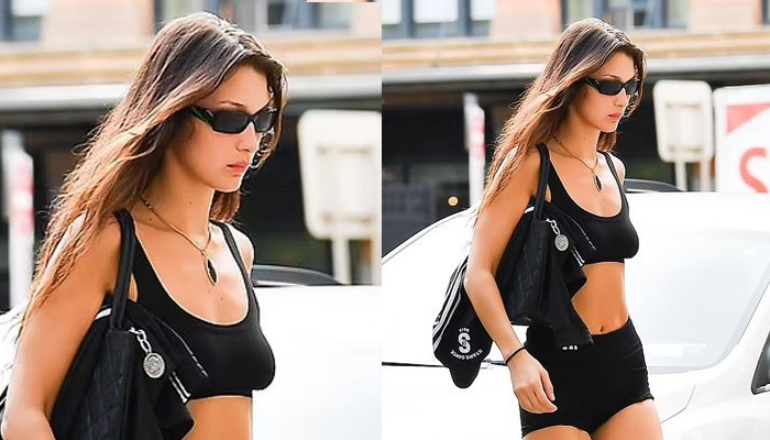 Bella Hadid sends temperatures soaring as she showcases her supermodel figure in skimpy athleisure