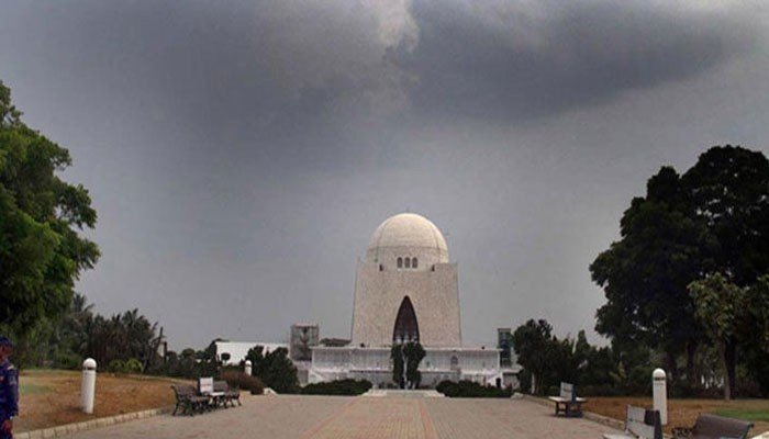 Dark clouds hover above the Quaids mausoleum in Karachi. Photo: File