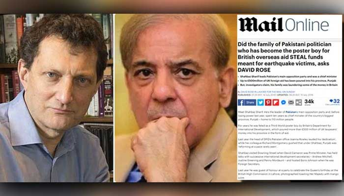 Picture collage showing Daily Mail journalist David Rose, PML-N President Shahbaz Sharif, and a screenshot of the defamatory article against Shahbaz written by Rose — File.