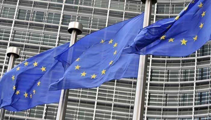 European flags fly outside the European Commission building, in Brussels, in this AFP file photo.