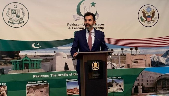 A file photo of State Bank of Pakistan Governor Dr Reza Baqir introducing the Roshan Digital Initiative at the Pakistan embassy in Washington DC, US. Photo: Twitter/ Asad M Khan