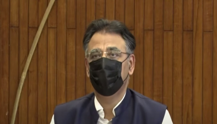 Federal Minister for Planning, Development, Special Initiatives Asad Umar addressing a press conferenceafter a meeting of the Joint Coordination Committee on the China-Pakistan Economic Corridor in Islamabad, on September 23, 2021. — YouTube/HumNewsLive