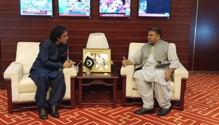 Newly-elected Pakistan Cricket Board (PCB) Chairman Ramiz Raja meetsFederal Minister for Information and Broadcasting Fawad Chaudhry at theFederal Ministry of Information and Broadcasting in Islamabad, on September 23, 2021. — Twitter/MoIB_Official