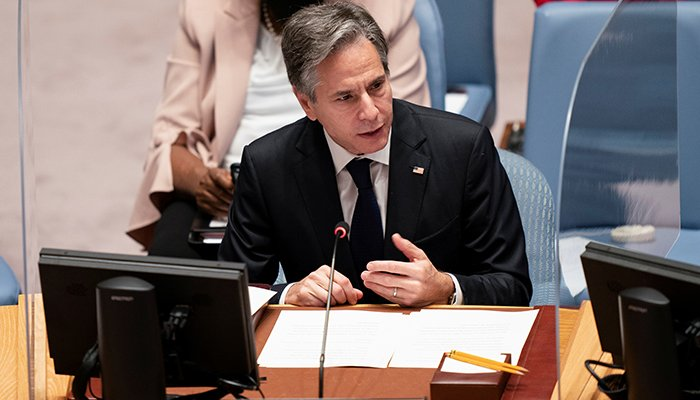 US Secretary of State Antony Blinken speaks during a meeting of the United Nations Security Council at the 76th Session of the UN General Assembly in New York, US September 23, 2021. — Reuters
