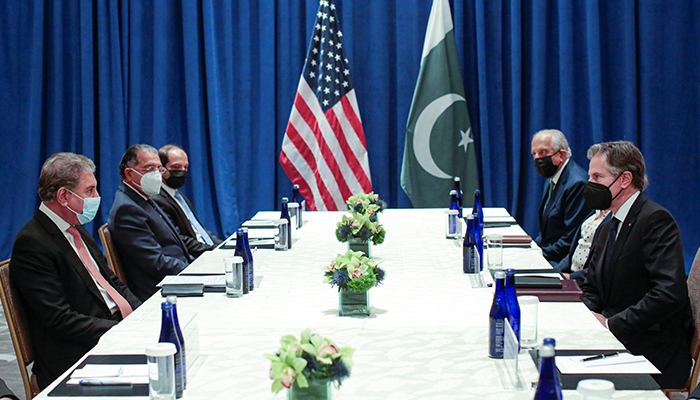 US Secretary of State Antony Blinken meets with Pakistani Foreign Minister Shah Mahmood Qureshi on the sidelines of the 76th Session of the UN General Assembly in New York, US September 23, 2021. — Reuters