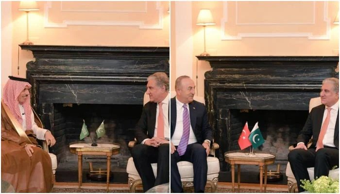 Foreign Minister Shah Mahmood Qureshi (on the right in both photos) meets with Saudi Foreign Minister Prince Faisal bin Farhan Al Saud (on the left in the first photo) and Turkish Foreign Minister Mevlut Cavusoglu (on the left in the second photo) on the sidelines of the 76th session of the United Nations General Assembly in New York, on September 23, 2021. — Twitter/SMQureshiPTI