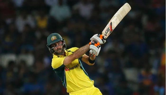 Australias Glenn Maxwell hits a ball for a boundary. Photo: AFP