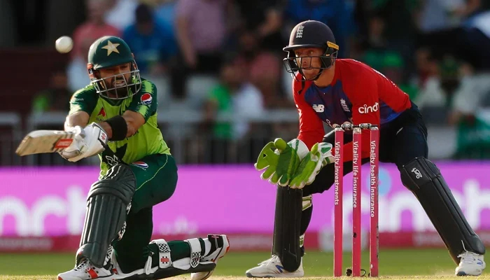 Pakistans cricket Mohammad Rizwan can be seen in action while playing the third Twenty20 International at Emirates Old Trafford, Manchester, Britain on July 20, 2021.— Reuters/File