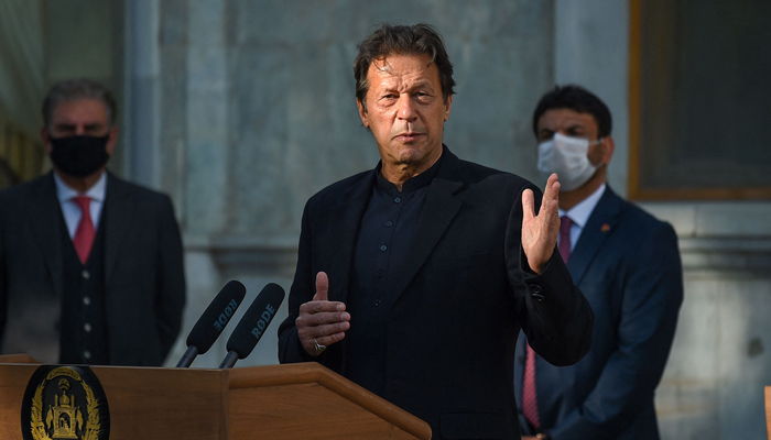 In this file photo taken on November 19, 2020, Prime Minister Imran Khan speaks during a joint press conference with Afghanitan´s president at the Presidential Palace in Kabul. — AFP/File