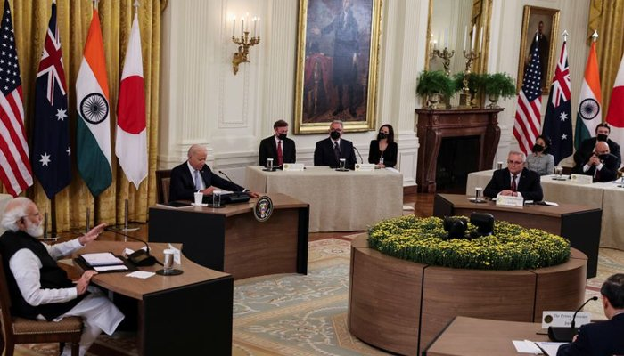 Indias Prime Minister Narendra Modi speaks during a Quad nations meeting at the Leaders Summit of the Quadrilateral Framework hosted by US President Joe Biden with Australias Prime Minister Scott Morrison and Japans Prime Minister Yoshihide Suga in the East Room at the White House in Washington, US, September 24, 2021. — Reuters