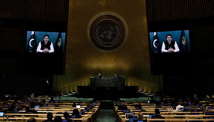 Prime Minister Imran Khan addresses, via prerecorded video the General Debate of the 76th Session of the United Nations General Assembly at UN Headquarters in New York City, U.S., September 24, 2021. — Reuters
