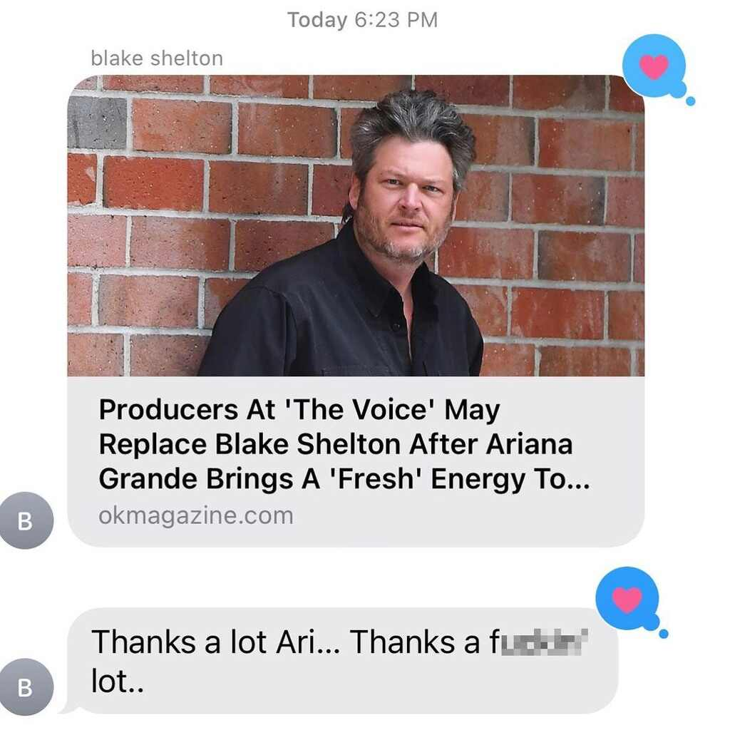 Take a look at Blake Shelton reacting to news of Ariana Grande replacing him