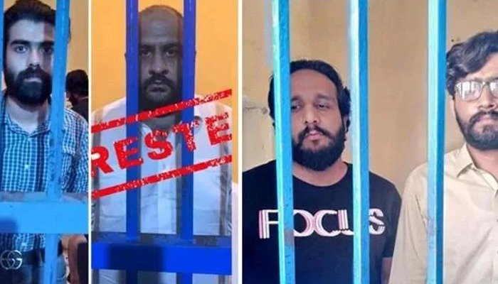Usman Mirza and his accomplices pictured behind bars. Photo: Islamabad Police