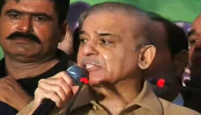 PML-N President Shahbaz Sharif addressing a workers convention, in Rawalpindi, on September 26, 2021. — Geo News