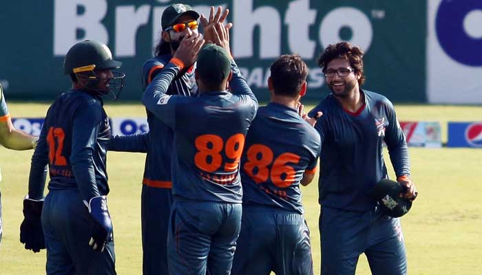 Balochistan celebrating the fall of anATF Southern Punjab wicket. — Photo courtesy PCB