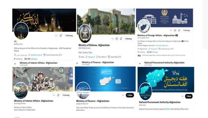 Screengrabs of Twitter accounts of various Afghan ministries. Photo— Afghan media