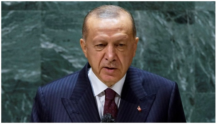 Turkish President Recep Tayyip Erdogan addresses the 76th Session of the U.N. General Assembly in New York City, US, on September 21, 2021. REUTERS