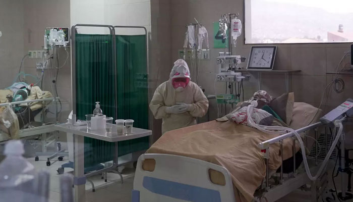 Covid patient being taken care of at a hospital. File photo