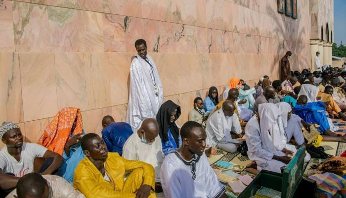 Pilgrims came to pray in the Great Mosque of Touba. AFP
