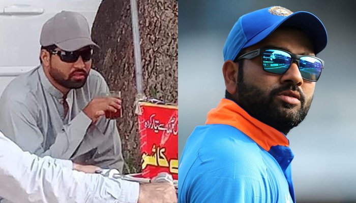 Indian cricketer Rohit Sharma (right) and his lookalike. — Twitter
