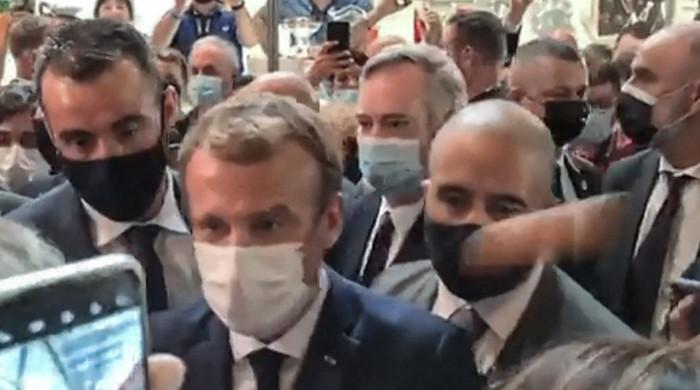 French president egged by protester shouting 'long live revolution'