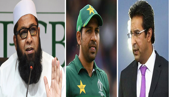 (Left to right)Inzamam-ul-Haq, Sarfaraz Ahmed and Wasim Akram. — Twitter/File