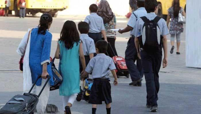Schoolchildren walking to school carrying heavy school bags. Photo: File