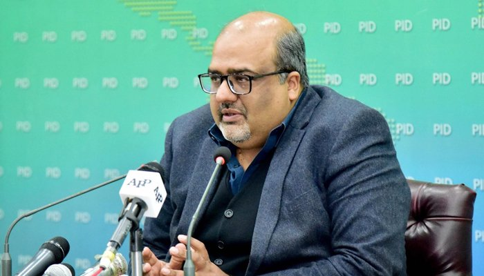 A file photo of Adviser to the Prime Minister on Interior and Accountability Mirza Shahzad Akbar addressing a press conference