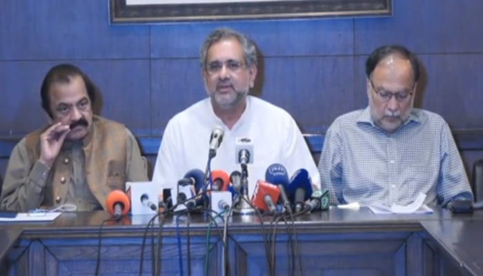 PML-N leaders address a press conference in Lahore. Photo: PML-N Twitter video screengrab