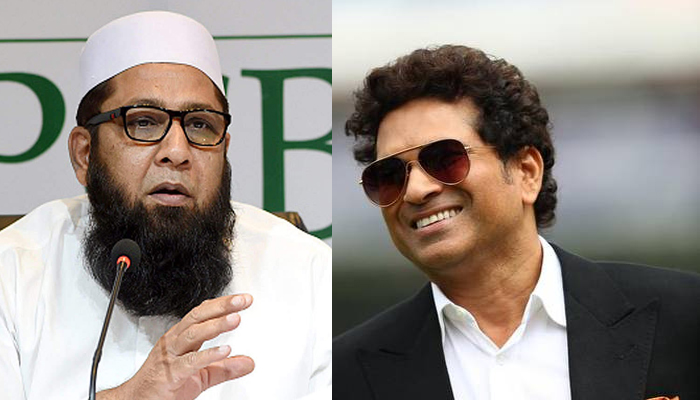 (Left to right)Pakistan batting great Inzamam-ul-Haq and former Indian cricketer Sachin Tendulkar. Photo: Twitter/File