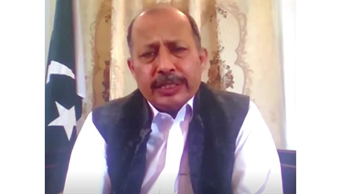 Pakistan's Ambassador to Afghanistan, Mansoor Ahmad Khan, speaks during a discussion, in this screen grab taken from a video, in Kabul, Afghanistan September 27, 2021. — Reuters