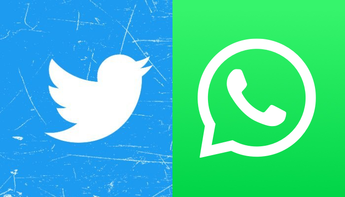 The logos of Twitter (left) and WhatsApp. — Twitter