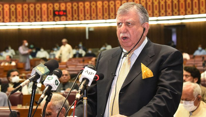 In this handout picture released by National Assembly on June 11, 2021, Finance Minister Shaukat Tareen presents the annual fiscal budget at the National Assembly in Islamabad. — AFP/File