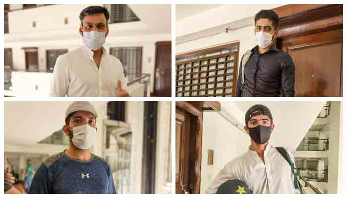 Pakistan cricketers after reporting at a hotel in Lahore.