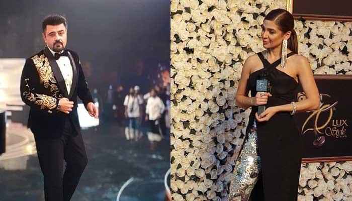 GEO LSA 2021: Hosts Ayesha Omar, Ahmed Ali Butt dazzle at red carpet